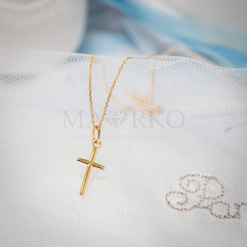 złoty krzyżyk na chrzest dla chłopca